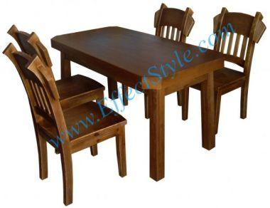стол и стулья с цельного дерева
